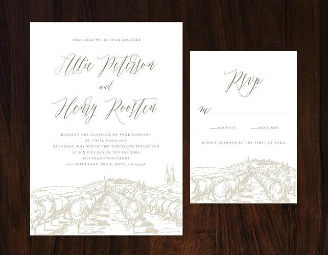 Amazon Com Rustic Tuscan Wedding Invitation Vineyard Wedding