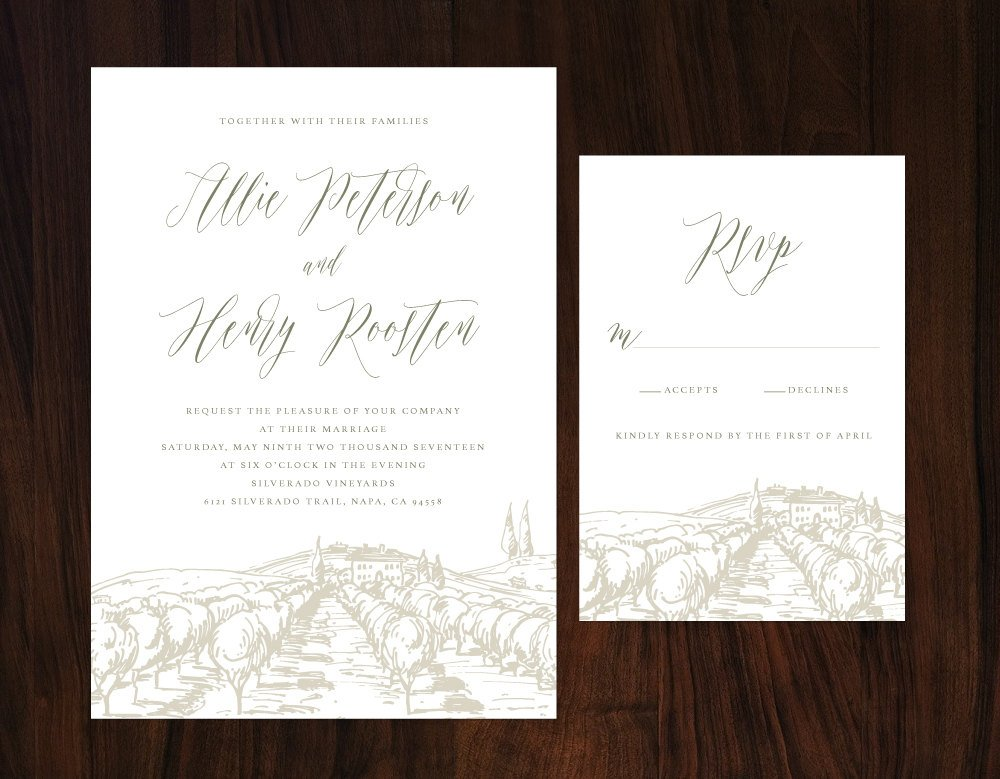 Rustic Tuscan Wedding Invitation, Vineyard Wedding, Winery Wedding Invitation, Romantic Wedding Invitation