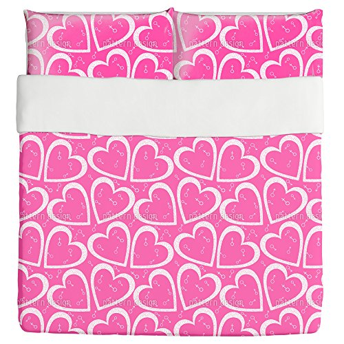 Heart For Her And Him Duvet Bed Set 3 Piece Set Duvet Cover - 2 Pillow Shams - Luxury Microfiber, Soft, Breathable by uneekee
