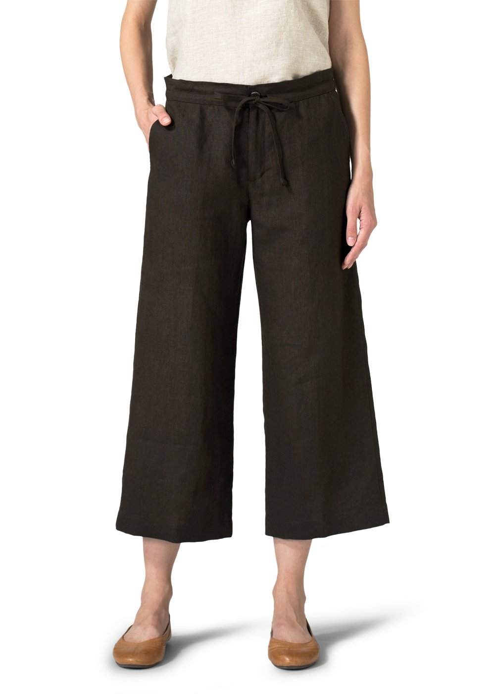 Vivid Linen Crop Drawstring Pants-2X-Dark Brown