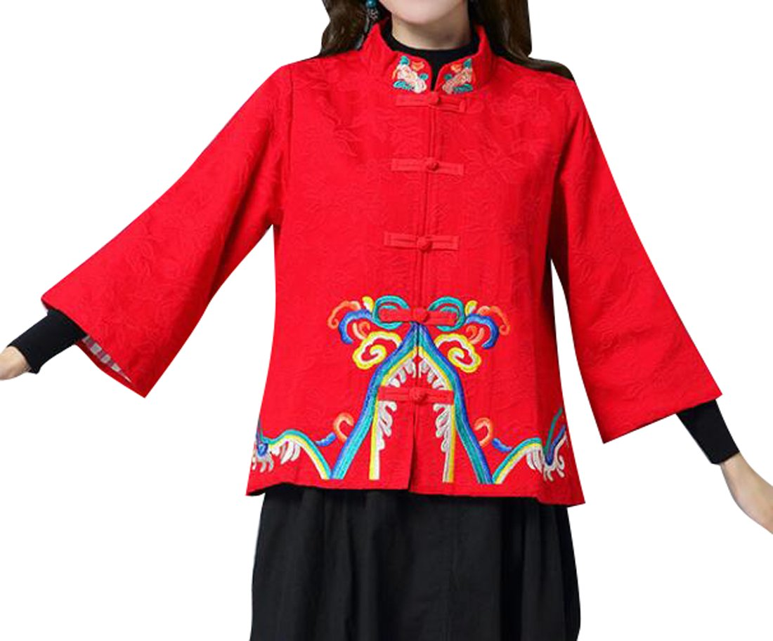 ARTFFEL-Women Vintage Chinese Style 3/4 Sleeve Embroidery Coat Jacket Outerwear Red XL
