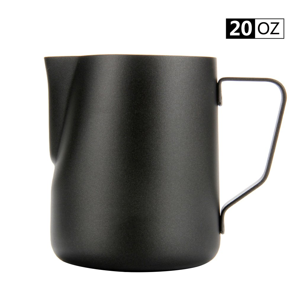 Espresso Coffee Milk Frothing Pitcher,WeHome Stainless Steel Creamer Macchiato Cappuccino Latte Art Making Pitcher Cups Perfect Christmas Gift for Your Family and Friends,20 oz/600ML by WeHome