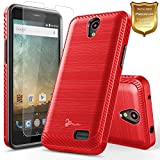 zte prelude 2 cell phone - NageBee [Carbon Fiber Brushed] [Dual Layer] Protector Hybrid Case w/[Tempered Glass Screen Protector] For ZTE Maven 3, ZTE Overture 3, ZTE Prelude Plus (4G LTE), ZTE Prestige 2 -Red