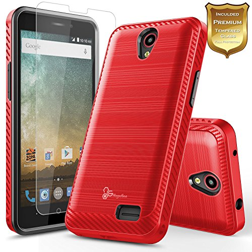 NageBee [Carbon Fiber Brushed] [Dual Layer] Protector Hybrid Case w/[Tempered Glass Screen Protector] Compatible with ZTE Maven 3/ Overture 3/ Prelude Plus (4G LTE)/ Prestige 2/ Sonata 3 -Red