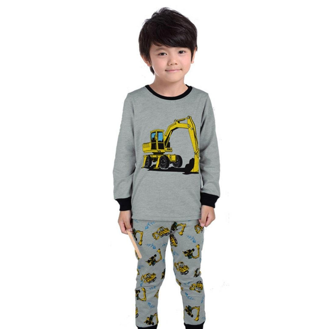 Baby Girls Clothes, VEKDONE Toddler Kids Baby Tractor Print Long Sleeves T-shirts Top Pants Boy Clothes Sets (Gray, Size:12M)