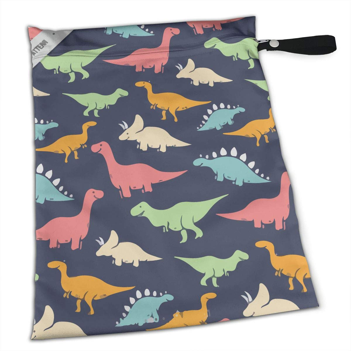 Pummbaby Colorful Dinosaur Workout Laundry Reusable Wet Dry Separation Travel Beach Gym Tote Bags Dirty Clothes and Wet Wipe Holder for Diaper Packing Bag Pads Hanging Set by Pummbaby