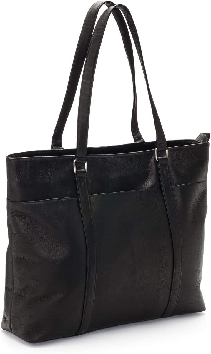 Le Donne Leather Women s Laptop Tote Bag, Black, Medium
