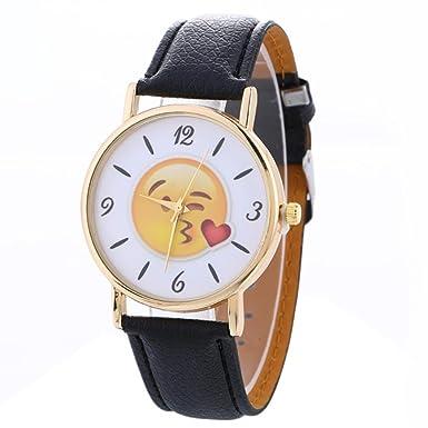 Dressin Womens Quartz Watch,Fashion Casual Cute Expression Analog Silicone Band Wrist Watch,Geneva