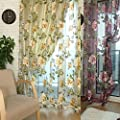 FUA® 1PC 250cmx100cm Peony Floral Tulle Door Window Curtain Drape Panel Sheer Scarf Valances by FUA®