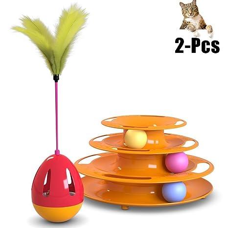 Juguetes Gatos, Legendog Pistas Bola Pluma Gato Juguete Interactivo Gato Jugar Juguete Con Gato Vaso