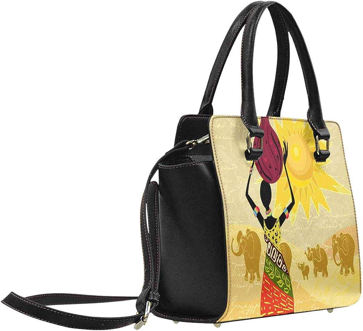 InterestPrint Japan Concept Japanese Wave Fuji Mountain Maples Top Handle Satchel Purse for Woman Work Tote Shoulder Bag