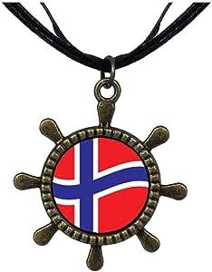 Chicforest Bronze Retro Style Norway Flag Ship Steering Wheel Pendant