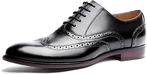TALLA 39.5 EU. Desai Zapato Brogue con Cordones Oxford Para Hombre Negro/Marrón