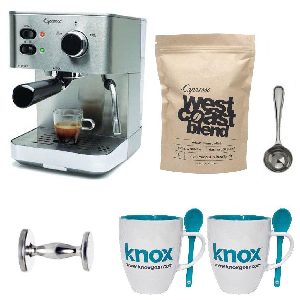 Capresso EC PRO 118.05 Professional Espresso & Cappuccino Machine with Capresso West Coast Blend Whole Bean Coffee (1-Pound) & Accessories