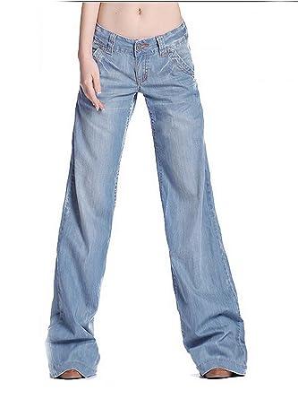 563016e5 TENGFU Women's Juniors Low Rise Loose Slim Denim Flared Jeans Bell Bottoms Pants  Blue at Amazon Women's Jeans store