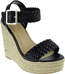 253c45c9efc My Delicious Shoes Remain Womens Braided Strap Wedge Platform Sandals
