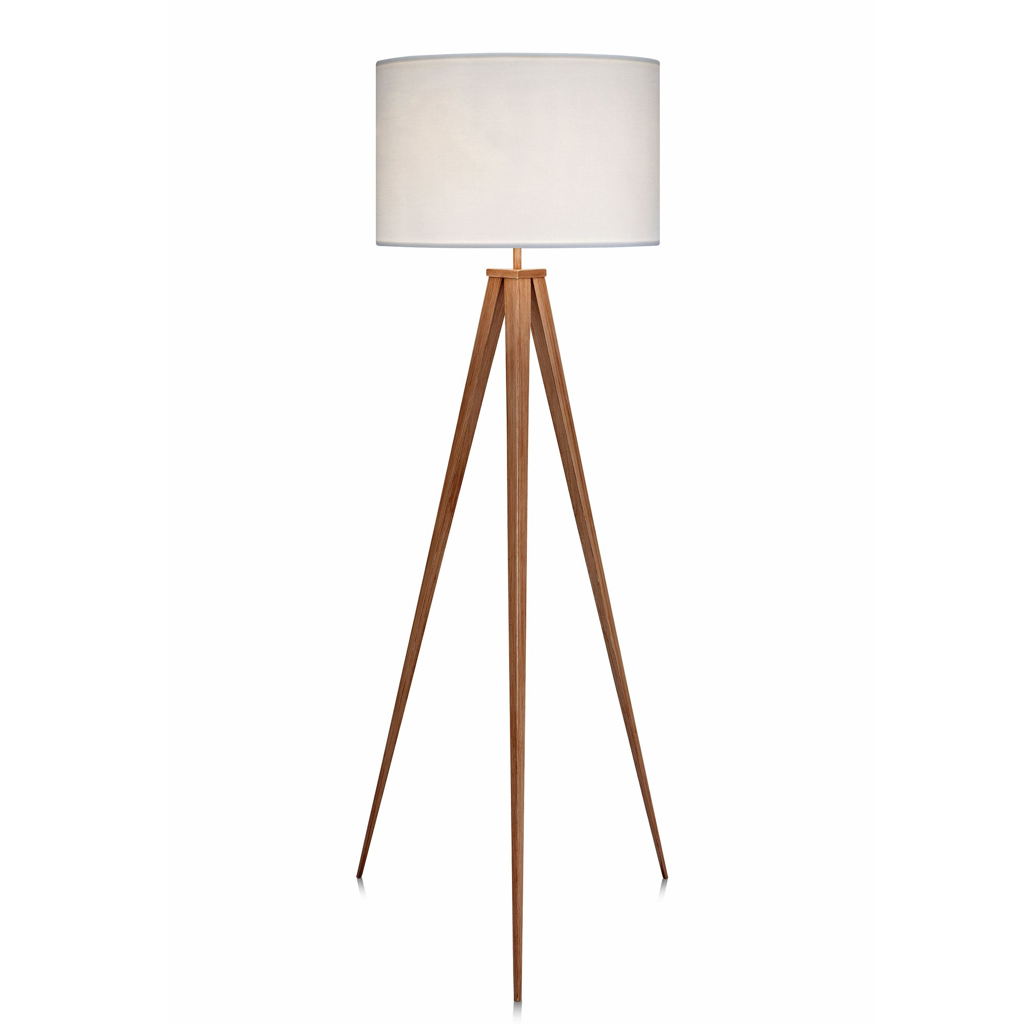 Versanora VN-L00007 Romanza Tripod Floor Lamp, White/Faux wooden leg