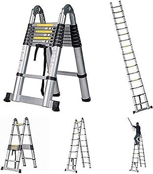 Escalera telescópica extensible de 5.2M, capacidad de carga plegable de la escalera de la extensión de la extensión de aluminio de usos múltiples DIY 150kg: Amazon.es: Bricolaje y herramientas