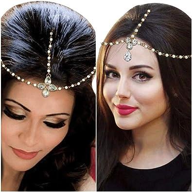 Amaal Hair Jewellery Traditional Bridal Wedding Gold Pearl Chain