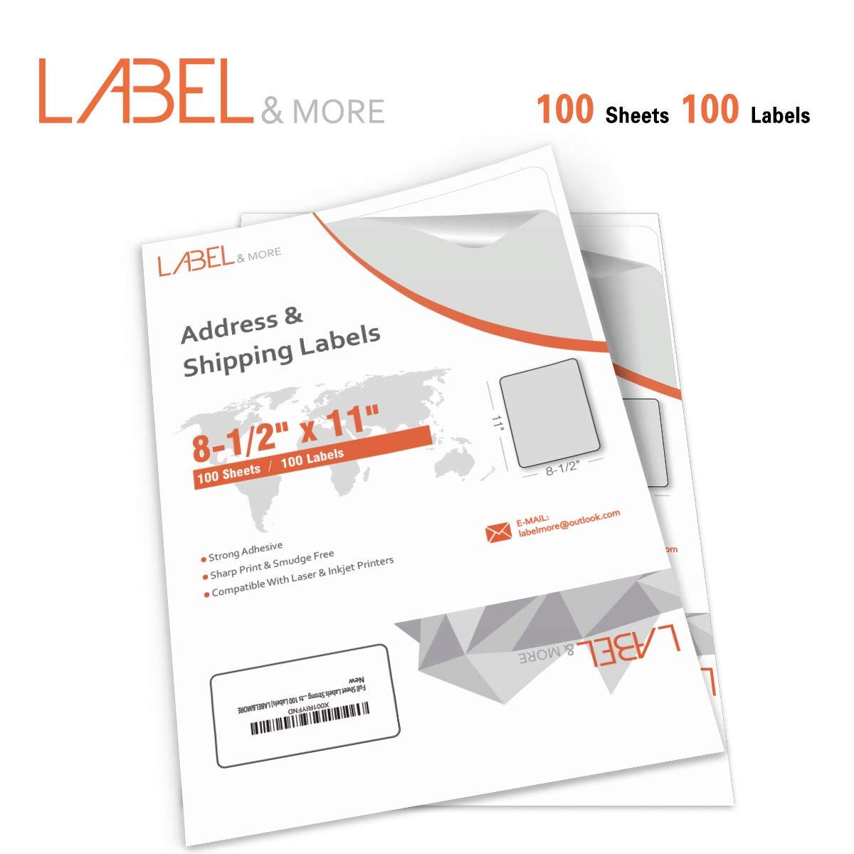 Full Sheet Labels for Laser and Inkjet Printer 8.5x11 Labels Full Sheet Label Paper UPS USPS Amazon Postage Address Shipping 1 up Labels Same Size with 5165 Labels[100 Sheets 100 Labels] Label&More