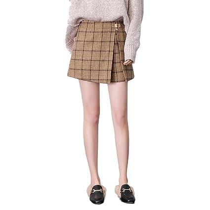 fábrica auténtica 65902 aa279 LINSYT Falda a cuadros de cintura alta elegante de cuadros ...