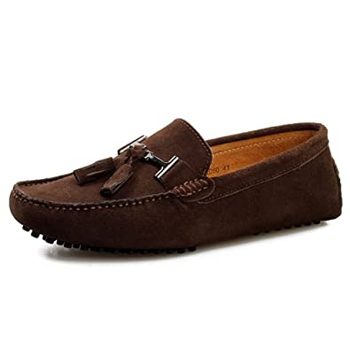 rismart Mens Stylish Tassel Suede Moccasins Comfort Loafers Flats Driving Shoes Coffee 2080 US7