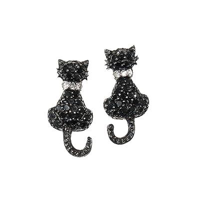 Emma Gioielli - Pendientes para Mujer Chapado en Plata Gato Gatos Gatitos con Cristales SWAROVSKI ELEMENTS Negros - Paquete Regalo: Amazon.es: Joyería