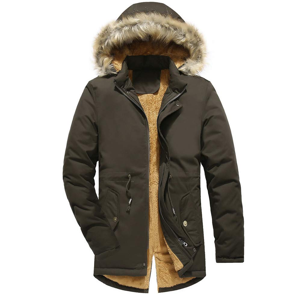 GREFER Men Winter Solid Jacket Keep Warm Thickening Coat Outwear Top Plus Size Green by GREFER