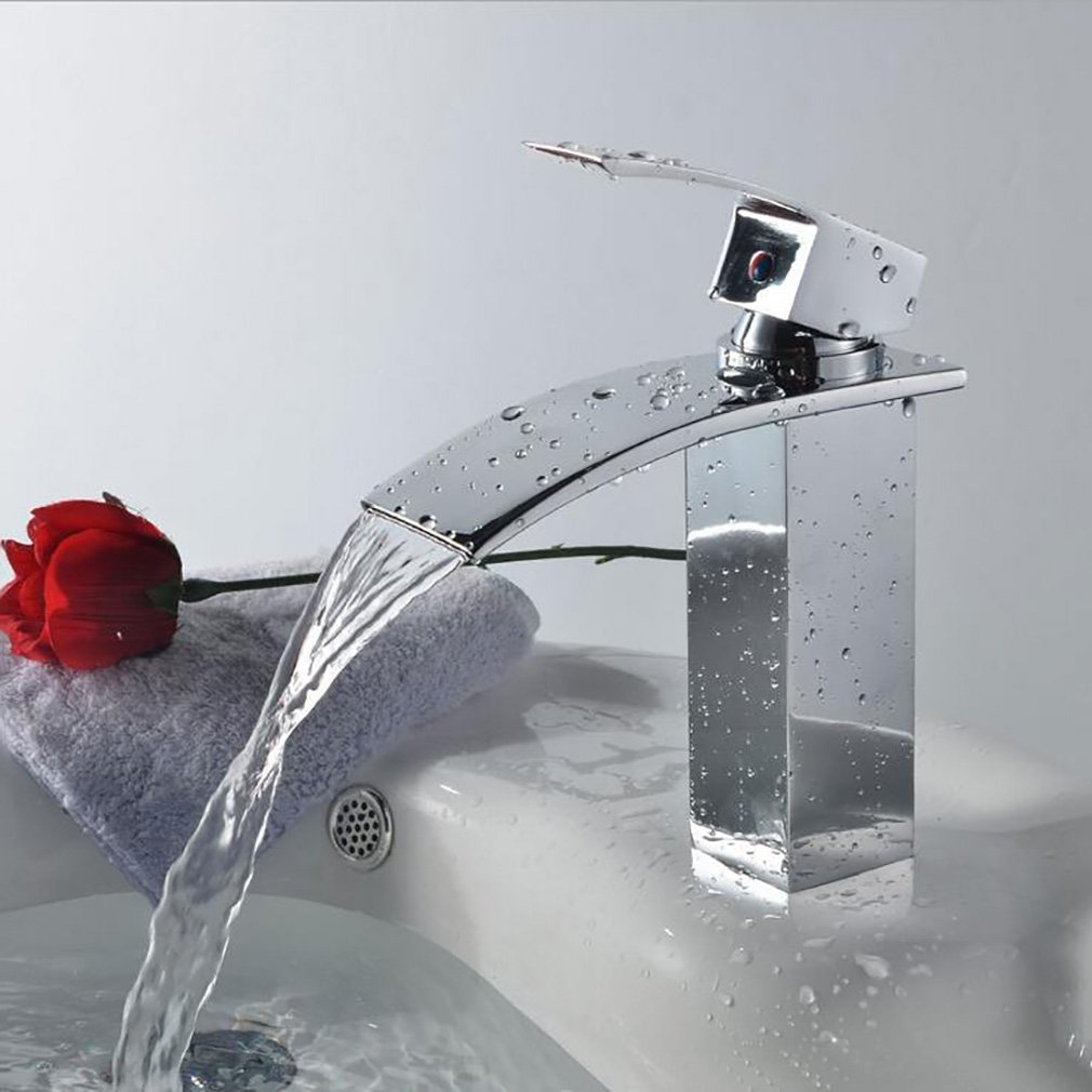 FeN Brass Hot And Cold Taps,Single Hole Basin Mixer,Bathroom Sink Waterfall Tap ,Fashion Easy Installation