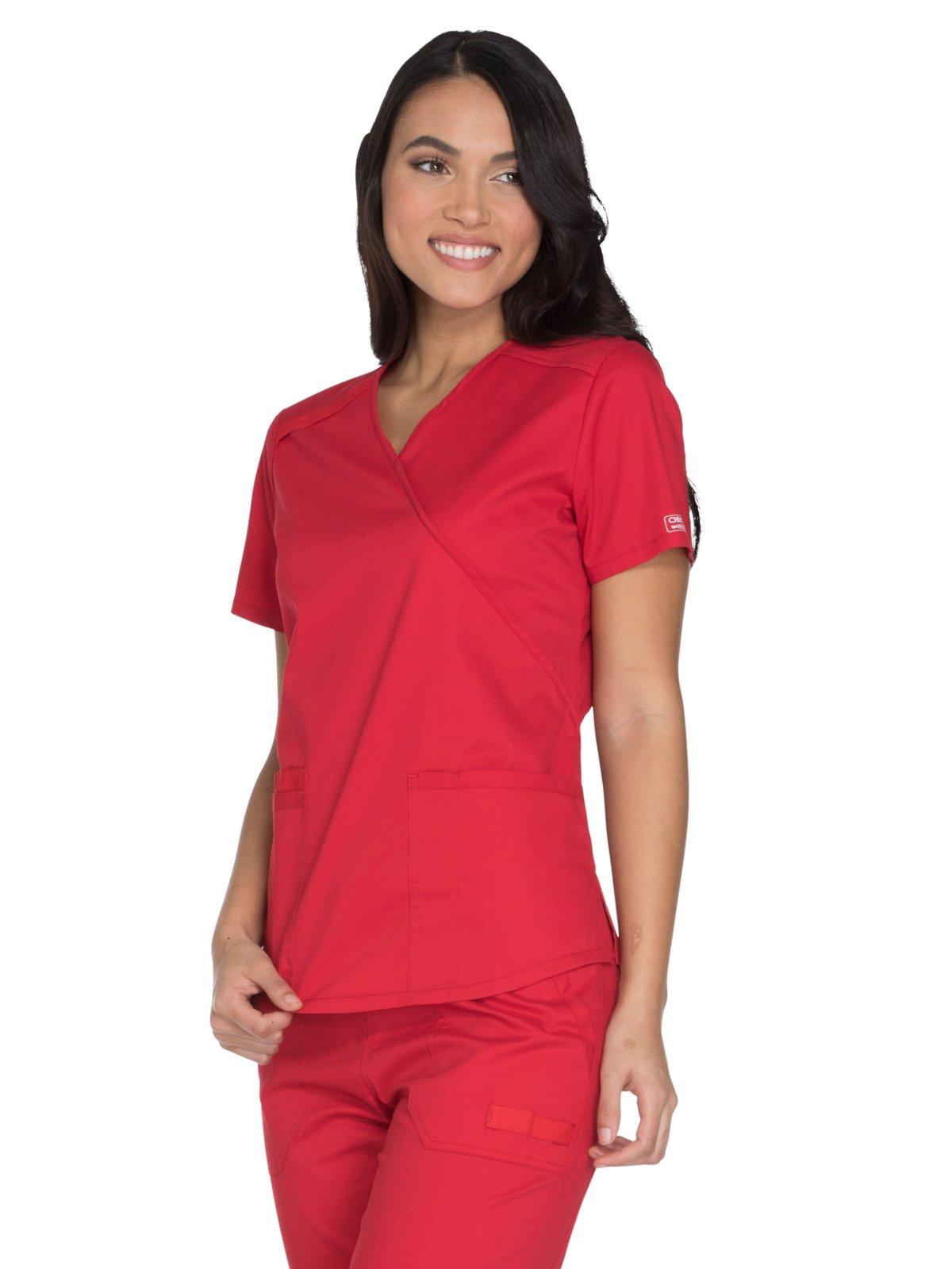 Cherokee Core Stretch by Workwear Women's Mock Wrap Solid Scrub Top Medium Red