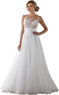 LoveMyth Women's Tulle Appliques Chiffon Pleated Backless Spring Wedding Dress for Bride
