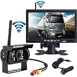 OBEST 7インチTFT液晶モニター&無線赤外線暗視バックカメラセット 大型車広角死角監視 高画質 カメラ ワイヤレスタイプ トラック、バス、トレーラーなど重機対応 取り付け簡単 12V/24V両用