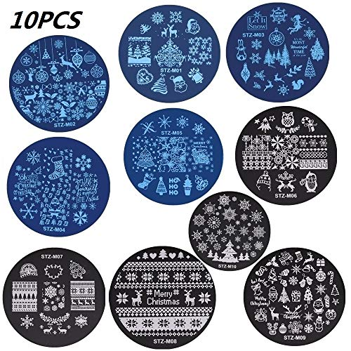 10pcs Nail Art Stamp Template, 5.5cm Round Nail Stamping Plates Deer Snowflake Snowman Stainless Steel Template Christmas Manicure Stencil ()