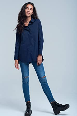 Q2 Femme Chemise bleu marine foncée - S - Bleu  Amazon.fr  Vêtements ... a0009b9ce19a