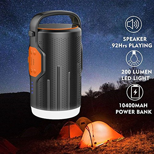 Hompie LED Camping Light Lantern, 3-in-1 Bluetooth 4.2 Speaker with 92Hrs Playtime & Rechargeable Tent Lights Lamp & &10400mAh Power Bank Battery for - Speaker Lantern Outdoor
