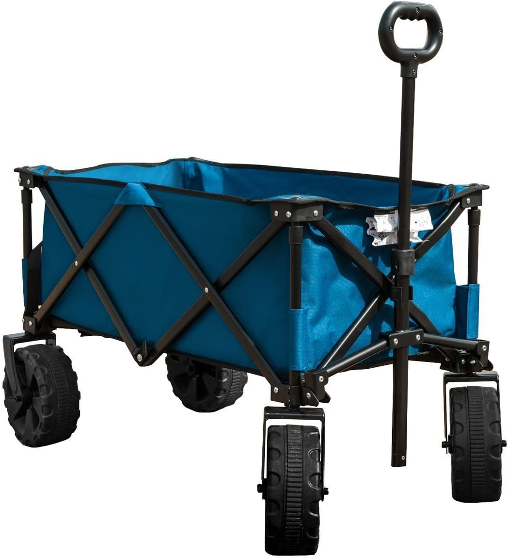 Timber Ridge Folding Camping Wagon Cart – Collapsible Sturdy Steel Frame Garden Beach Wagon Cart