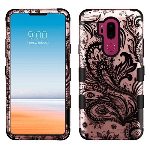 TUFF Series Hybrid LG G7 ThinQ Case, Heavy Duty Military Grade Certified MIL-STD 810G-516.6 Protection Case Cover and Atom Cloth for LG G7 ThinQ - Paisley Vines