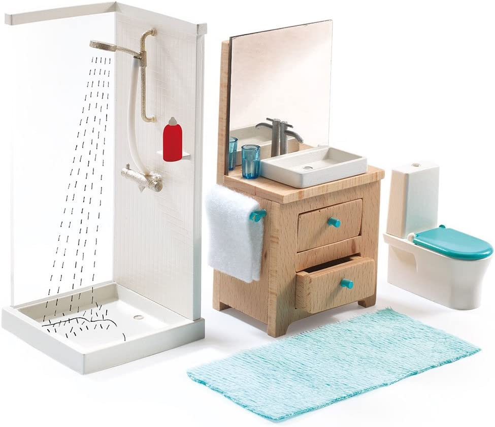 DJECO Dollhouse Bathroom & Accessories Playset
