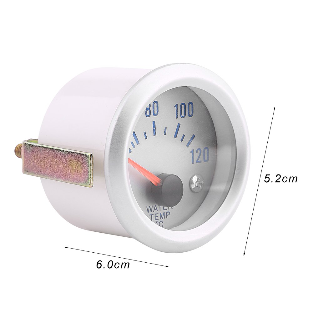 Qiilu Universal Car Motor Digital Water Temp Temperature Gauge 52mm 2 Blue LED 40-120℃ Range