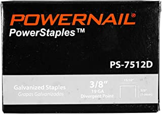 """product image for Powernail 19 Ga. Divergent Point Staples, 15/32"""" Crown, 3/8""""leg (5,000 ct box)"""