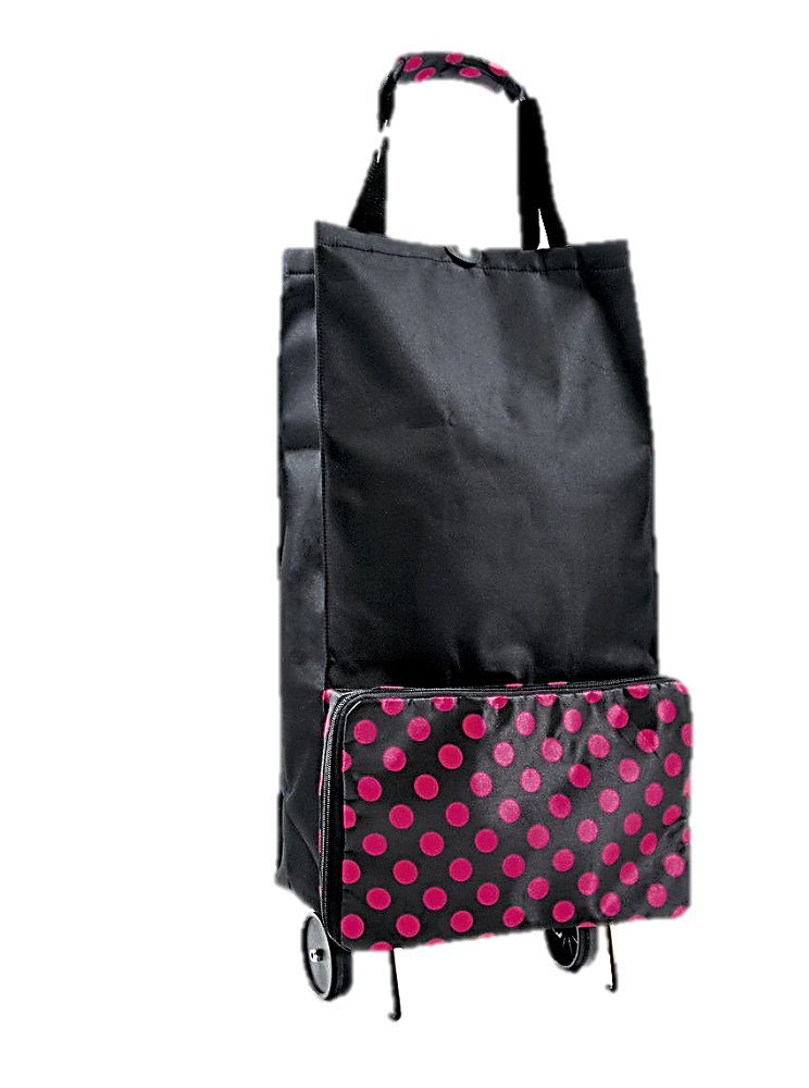 Foldable Shopping trolley , folds as a bag, polka dot BB681