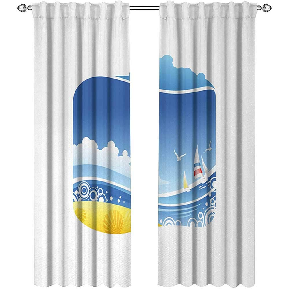 Returiy Beach, Curtains Printed, Exotic Wavy Sea with Seashells Wind Boats Seagulls Open Skyline Cartoon Style, Curtains Kitchen Valance, W108 x L96 Inch, Blue Yellow White by Returiy