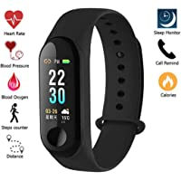 Meya Happy Fitness Tracker Watch M3 Band OLED Touchscreen with Live Heart Rate Monitor Smart Band with Activity Tracker Waterproof Body with Functions Like Sleep Monitor, Blood Pressure, Steps Counter, Calorie Counter, Heart Rate Monitor