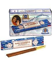 Nag Champa Grote verpakking, blauw, 12 pakjes met elk 15 g inhoud, in totaal 180 g.