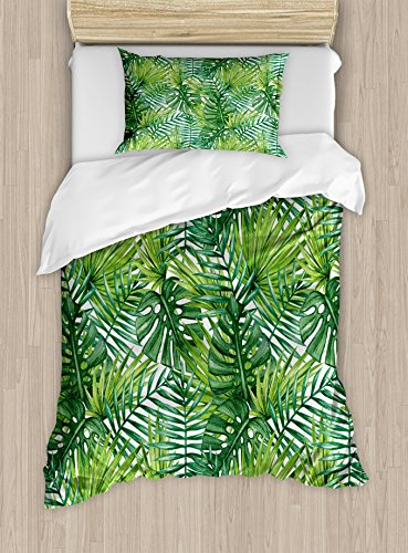 Ambesonne Leaf Duvet Cover Set Twin Size, Tropical Exotic Banana Forest Palm Tree Leaves Watercolor Design Image, Decorative 2 Piece Bedding Set with 1 Pillow Sham, Pale Green and Dark Green by Ambesonne