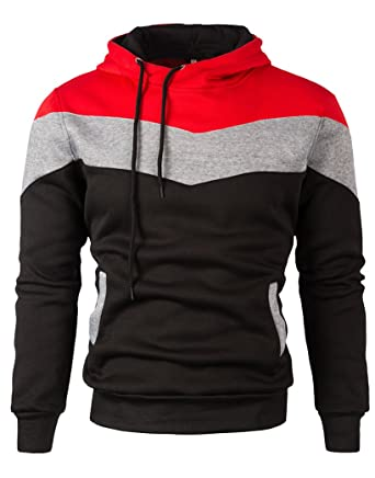 d58ad33c Mooncolour Mens Novelty Color Block Hoodies Cozy Sport Autumn Outwear  0163_black US Large