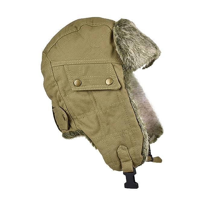 Canvas Bomber Cap Trapper Hat Mens Fur Winter Hats at Amazon Men s ... 524cee99e5f