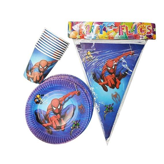 QAnter 21PCS Spiderman Fiesta temática Bandeja de vajilla ...