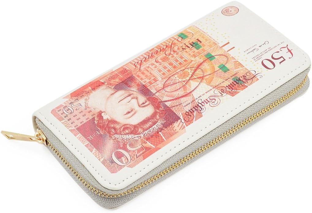 TrendsBlue Premium British Pound 50 GBP Bill Money Print PU Leather Bifold Walle