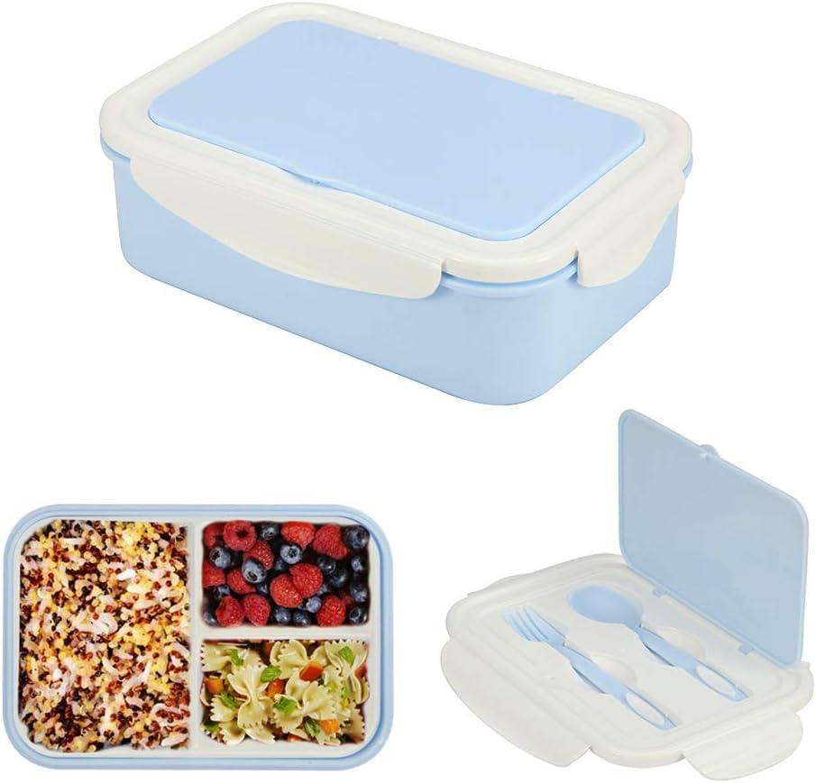 1050ml Caja de Almuerzo de Plástico Azul, Caja de Bento con 3 Compartimentos y Cubiertos (Tenedor y Cuchara), Fiambreras Caja de Alimentos Ideal para Almuerzo y Bocadillos para Niños y Adultos: Amazon.es: